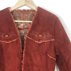 Express Jackets & Coats - EXPRESS FAUX SEUDE EMBROIDERY JACKET S